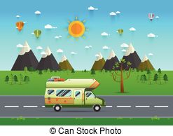 family-traveler-truck-driving-on-the-road-outdoor-journey-camping-traveling-vacation-concept-poster-clipart-vector_csp36856459