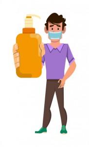 hombre-usa-mascara-facial-muestra-botella-gel-alcohol_77628-302