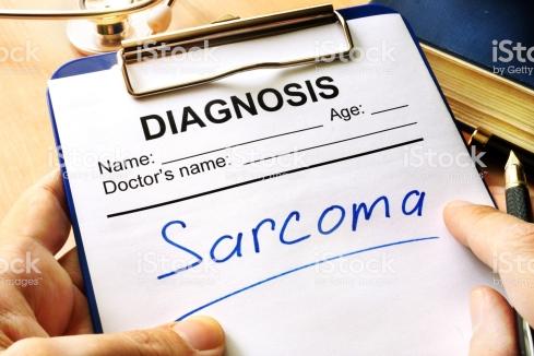 Diagnosis sarcoma in a medical form.
