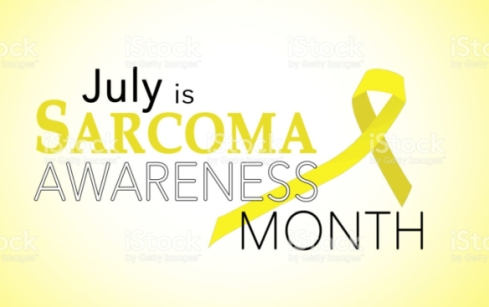July is sarcoma awareness month background with yellow awareness ribbon